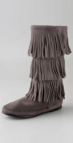 Minnetonka 3 Layer Fringe Boots - StyleSays