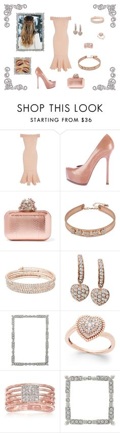 """""""Pinky  Off The Shoulder"""" by destinystarr772 ❤ liked on Polyvore featuring Jonathan Simkhai, Yves Saint Laurent, Jimmy Choo, Betsey Johnson, Anne Klein, Giani Bernini, Olivia Riegel and Ross-Simons"""