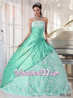 Mint Lace Decorate Quinceanera Dress with Ruches and Pleats