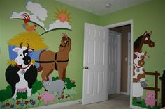 Adorable barnyard animals really WOW a room with these easy DIY Paint-by-Number murals!