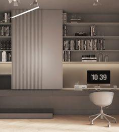Modern Home Interior Design, Modern Office Design, Luxury Homes Interior, Home Building Design, House Design, Small Home Offices, Shelf Design, Apartment Interior, Dining Room Design