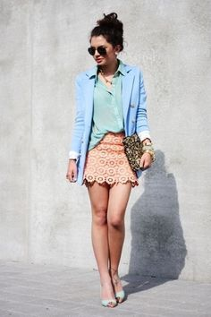 BLAZER AND SKIRT..I'm loving everything about this look! Who knew blue and pink looked so incredibly good together? I love the lace on the skirt matched with a silky button-up! The blazer is a cute finish to the outfit! It turns your girly outfit into a sophisticated one and is perfect a day out in the city!