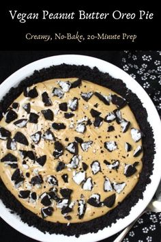 This sinfully delicious Vegan Peanut Butter Oreo Pie needs just 15-20 minutes of hands-on time. A delicious crust of Oreo cookies is topped by a creamy, smooth, fluffy layer of peanut butter and cream cheese, naturally sweetened with maple syrup. #vegan, #pie, #dessert, #peanutbutter, #oreo HolyCowVegan.net