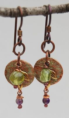 Round disc and beaded copper patinated earrings by azibrn