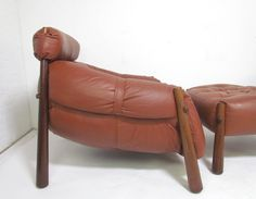 Brazilian Leather and Jacaranda Lounge Chair and Ottoman by Lafer image 2