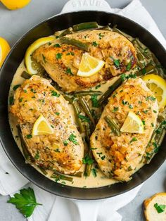 This luscious Lemon Butter Chicken cooks in ONE pan, uses no cream, and is so easy and delicious. Green beans or asparagus cook alongside the chicken for an all-in-one healthy meal! Paleo and keto friendly. Healthy High Protein Meals, High Protein Recipes, Easy Healthy Recipes, Healthy Food, Keto Recipes, Protein Foods, Ketogenic Recipes, Quick Recipes, Healthy Chicken