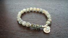 Women's Labradorite Chakra Mala Bracelet  Silver by 5thElementYoga