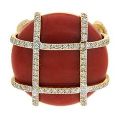 Red Coral Cabochon Diamond Gold Ring