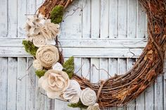Two Shades of Pink: Fabric & Moss Spring Wreath