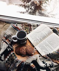 reading in winter: ginger cookies with hot tea or coffee
