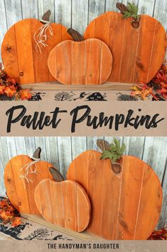 This pallet pumpkin trio is easy to make and looks adorable on your front porch or mantle! Start your fall decorating with this easy tutorial! This pallet project won't take long to make and is almost FREE! This pallet pumpkin Fall Wood Crafts, Halloween Wood Crafts, Theme Halloween, Diy Halloween, Wood Pallet Crafts, Wooden Pumpkin Crafts, Wooden Fall Decor, Thanksgiving Wood Crafts, Wooden Crafts