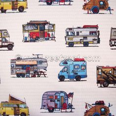 2 Yds HAPPY CAMPER Too Tan Khaki Quilt Fabric  Travel by zeetzeet, $18.98. I think I might order some of this to put away for a quilt in the trailer.