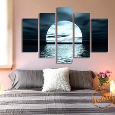 5 Panel Moon Picture Night Sea Landscape Painting for Living Room Modern Home Decor Wall Art & Beach Scene Modern Wall Art Set | Pinterest | Beach scenery Modern ...