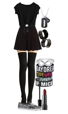 """""""OOTD--Paris---BTA"""" by thatemo ❤ liked on Polyvore featuring Vans, Jewel Exclusive, black, skirt, thighhighsocks and parisnomia"""