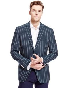 BLUE HARBOUR Notch Lapel 2 Button Striped Jacket with Wool