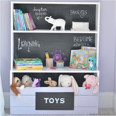 This DIY bookshelf with a chalkboard motif is easy to put together and offers multiple storage solutions for your little one's room!