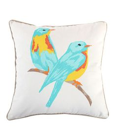 Look at this #zulilyfind! Mayla Watercolor Birds Pillow #zulilyfinds..for girls bedroom/bunkroom in the beach house