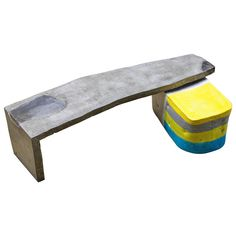 Oblong Concrete Table with Colored Glazed Ceramic Stool by Hun-Chung Lee   From a unique collection of antique and modern coffee and cocktail tables at https://www.1stdibs.com/furniture/tables/coffee-tables-cocktail-tables/