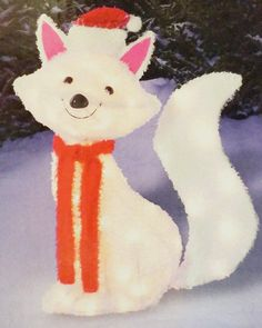 Light Up Holiday Lawn Decoration Artic Fox with Santa Hat, Scarf and Pink Ears 22 inches with 35 lights * Check out this great product. (This is an affiliate link) #HomeDecorTips