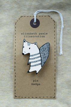 friendly autumn squirrel brooch - by elizabeth pawle - modern design - hand drawn hand cut - black and white illustration pin badge. $15.00, via Etsy.