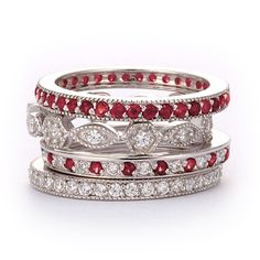 SusanB.Designs Simulated Diamond and Ruby Stackable Bands Set of 4 Rings Sterling Silver
