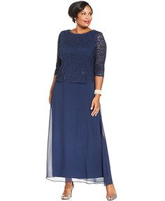 Alex Evenings Plus Size Three-Quarter-Sleeve Sequined Lace Gown - Dresses - Plus Sizes - Macy's