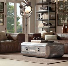Blackhawk Coffee Table from Restoration Hardware inspired by the early age of aviation. This coffee table is the perfect companion to the Aviator Chair and the Hollywood Lamp.