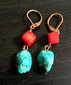 Coral N Turquoise Earrings by Theshobs on Etsy Turquoise Earrings, Red Coral, Uk Shop, Beautiful Earrings, Jewelry Collection, Boho Fashion, Handmade Jewelry, Personalized Items, Etsy