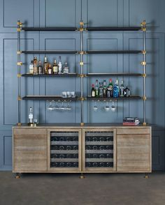 This beautiful bar cabinet with burnt oak adjustable shelves is part of our loft shelving collection. Our loft posts in blackened gunmetal and fully machined brass fittings in our buffed brass finish mount from the top of our cabinet and tie back to Bar Shelves, Glass Shelves, Open Shelves, Bar Unit, System Furniture, Iron Furniture, Lounge Furniture, Home Bar Designs, Back Bar