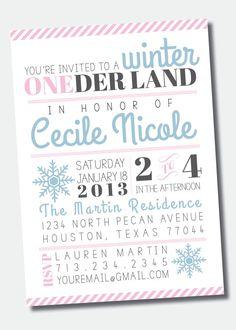 Winter ONEderland Birthday Party Invitation by SweetGreetsDesigns, $15.00