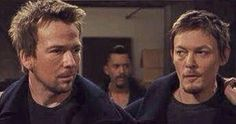 Norman Reedus, Sean Patrick Flanery/Boondocks Saints 2, Clifton Collins Jr in background.