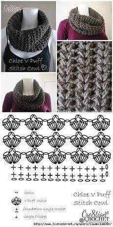 ideas for crochet cowl diagram patrones Crochet Afghan Stitch, Point Granny Au Crochet, Poncho Au Crochet, Pull Crochet, Crochet Cowl Free Pattern, Crochet Stitches Patterns, Crochet Scarves, Crochet Motif, Crochet Clothes
