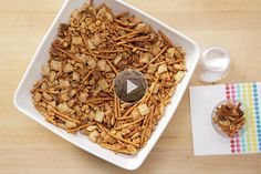 Buttery, toasted party mix is a classic snack that adapts perfectly to the slow cooker. Here's how to make it. The full recipe appears at the end of the video.