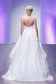 Ivory Tuileries Organza bridal ball gown, strapless sweetheart neckline, draped bodice, cascade skirt, tulle underlay, sweep train. Bridal Gowns, Wedding Dresses by Jim Hjelm Bridal - JLM Couture - Bridal Style jh8506 by JLM Couture, Inc.
