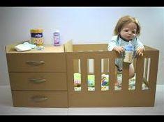 dolls bed diy cardboard - Google Search Diy Dolls Crib, Baby Doll Crib, Diy Crib, Doll Beds, Diy Bed, Baby Dolls, Baby Doll Furniture, Diy Barbie Furniture, Diy Changing Table