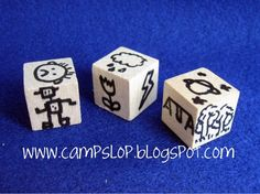 Storytelling Dice. Can make with 3/4 inch squares from Michael's. Characters on one die, setting on another and objects on a third. Great to have kids write their own stories!