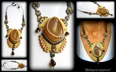 Necklace with Agate cabochon,Agate stones,czech glass beads :)