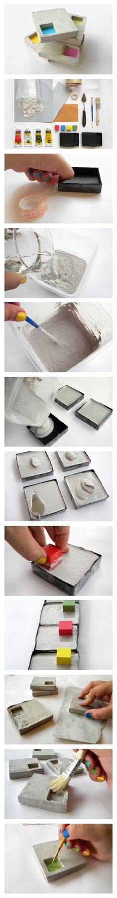cement geo coasters; add felt or silicon bumpers underneath to protect table surface