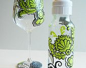Hand Painted Owl Design - 2 Baby glass bottles & 1 Wine glass Set. $80.00, via Etsy.