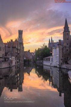 Evening view on the Bruges Belltower as seen from the Rozenhoedkaai by aoverfeldt #architecture #building #architexture #city #buildings #skyscraper #urban #design #minimal #cities #town #street #art #arts #architecturelovers #abstract #photooftheday #amazing #picoftheday