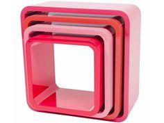 Sebra Regal-Boxen rechteckig in himbeerfarben