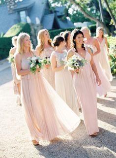 2014 Wedding Trends | Blush & Nude Tones | lovely blush bridesmaid dresses