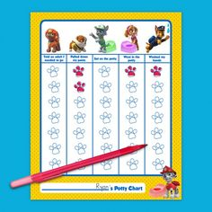 PAW Patrol Potty Training Chart