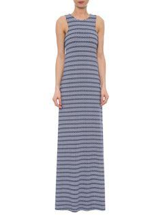 Vestido Longo Listra Com Poá - Maria Filó - Azul - Shop2gether