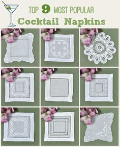 Are you having a cocktail party?    For elegant affairs to afternoon tea, leave a lasting impression on your guests by using linen cocktail napkins.   Choose from a variety of styles