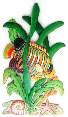"""Tropical Fish Hand Painted Metal Wall Hanging - 18 1/2"""" x 34""""- Tropical Design, Tropical Decorating, Tropical Home Decor, Hand Painted Metal Wall Art, Haitian Steel Drum Art, Garden Decor - See more handcrafted metal tropical designs at www.TropicAccents.com"""