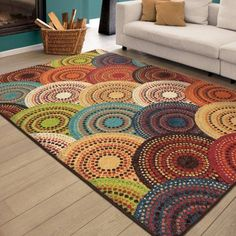 Best 12 A Carnival of color this unique circle rug is fresh and fun. Believers in great rugs and we take pride in our great prices. Area rugs can also visually enlarge the room size by shifting your focus off the walls and ceiling. Primitive Dining Rooms, Primitive Kitchen, Circle Rug, Circle Pattern, Quilt Pattern, Free Pattern, 8x10 Area Rugs, Living At Home, Handmade Rugs
