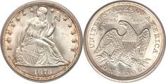 Type 2 Seated Liberty Silver Dollar with Motto Designer: Christian Gobrecht Diameter: millimeters Metal Content: Silver - Copper - Weight: grams Edge: Reeded Mint mark: below the eagle on the reverse with the exception of Philadelphia who has no mintmark. Bullion Coins, Silver Bullion, Us Coins, Silver Coins, Dollar Coin Value, Gold Bars For Sale, Sell Your Gold, Gold American Eagle, Coin Dealers