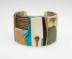 Cuff | Svetozar Radakovich.  Silver, 14 kt gold, 18 kt gold, turquoise, ivory, beach stone.  ca. 1970s