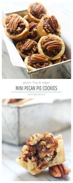 These Mini Pecan Pie Cookies taste just like the real-deal pecan pie in mini cookie form recipe! Only these guys are allergy friendly, vegan, paleo, gluten free, and made without refined sugar. You get a cookie, you get a cookie, EVERYBODY gets a cookie!